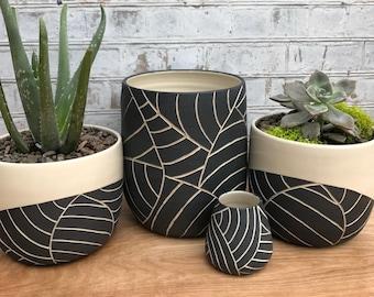 Medium black and white leaf carved planter - made to order - large planter - ceramic planter - succulent planter - pottery planter - modern