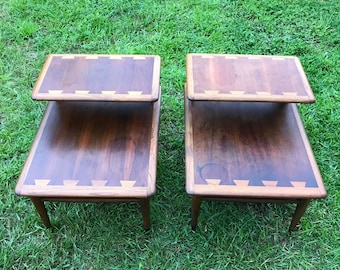 Mid  Century Modern, Two Tier Tables, Guitar Pic End Tables, Lane  Furniture, Matching End Tables, One Step Table