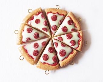Pepperoni Pizza Slice Handmade Polymer Clay Charm - Miniature Food Jewelry