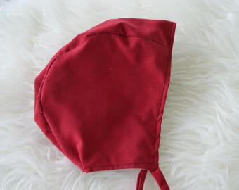 2t/3t velvetesque Valentine's Day Bonnet, toddler bonnet, hat, pilot hat, reversible, soft, upcycled fabric, vintage inspired, red