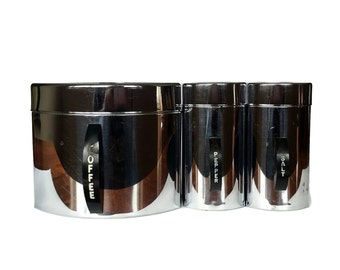 Kromex Canisters, Bakelite and Chrome Coffee Canister, Salt and Pepper Shakers, 1950s