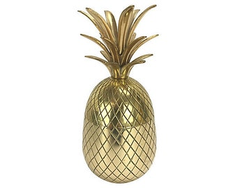 "Solid Brass Pineapple Box — 10"" H"