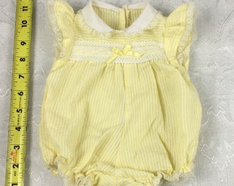 Vintage Baby Doll Girl Clothes 1985 Hasbro Real Baby Yellow Romper I62