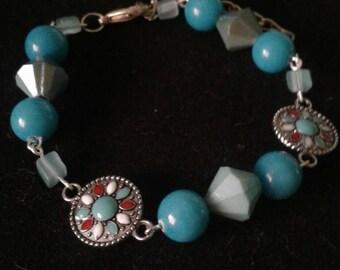 Turquoise and aqua beaded charm bracelet