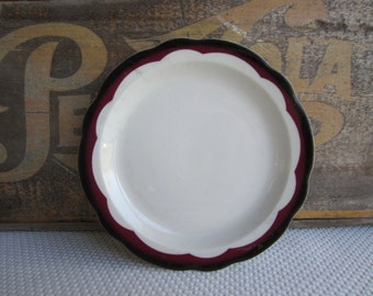 Vintage Red and Black Scalloped Trim Restaurant Dishes Bread and Butter Plates Buffalo China