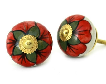 Round Ceramic Cabinet Knob with Red Flower