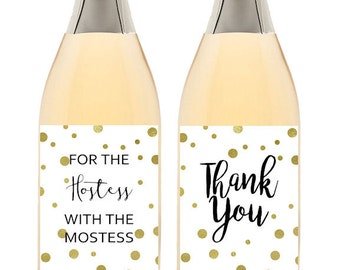 Hostess With The Mostess Wine Labels, Thank You Wine Labels, Instant Download Wine Labels, Bridal or Baby Shower Thank You, Hostess Gift