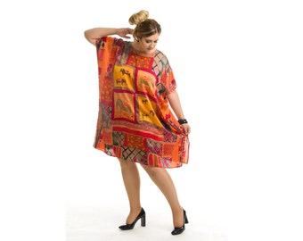 Satin Dress, Silk Dress, Plus Size Dress, Silk Tunic, Tunic Dress, Red Silk Dress, Maternity Clothes, Oversized Dress, Plus Size Clothes