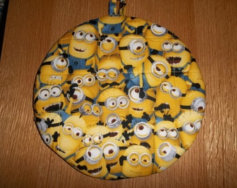 Yellow Minions, Quilted Pot Holders, Potholders, Hot Pads, Trivets Cotton, Handmade, Double Insulated, Kitchen Decor, 9 Inches, Hostess Gift