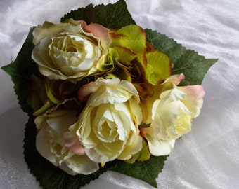 Very Pretty Bridesmaids Wedding Bouquet in shades of Yellow/Green Roses & Hydrangea with Hydrangea Leaves and Ivory Satin Ribbon.