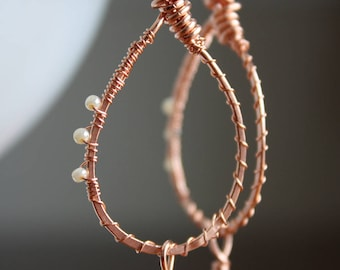 Wire wrapped copper and Swarovski crystal pendant earrings
