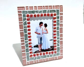 RED PINK FRAME, Gift for Her, Mosaic Picture Frame, Birthday Gift for Her, Unique Photo Frame, Picture Frame, Portrait Frames, Wedding Gift