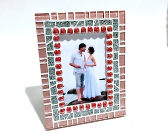 Red Pink Decor, Valentines Day Gift for Her, Mosaic Picture Frame, Unique Photo Frame, PictureFrame, Portrait Frames, Wedding Gift