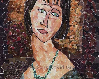 Homage to Modigliani 1 - Signed Fine Art Giclée Print.- warm colours, print from original collage.