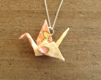 Pink & Cream Origami Necklace, Kawaii Paper Crane Necklace, Japanese Asian Pendant Jewelry