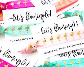 Let's Flamingle | Flamingo Bachelorette Hair Tie Favor |  Neon Pink + Gold Flamingo Bachelorette Party Hair Tie Favors, Beach Summer Fun