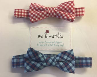 Little Boy's Bow Tie Set Red Gingham and Blue and Red Plaid Ready to Ship