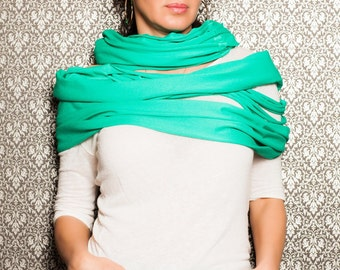 Turquoise Infinity Scarf/Cropped Scarf/Extravagant Shawl,Green Scarf,Extravagant Scarf,Accessories..