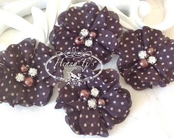 NEW: 4 pcs Aubrey Dark Brown Polka Dots Patterned - Soft Chiffon with pearls and rhinestones Layered Small Fabric Flowers, Hair accessories