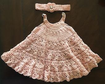 Handmade Crochet Dress 0-6 months