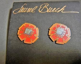 Laurel Burch Akiko earrings, Laurel Burch earrings, Laurel Burch red flower earrings, Laurel Burch Asian earrings, vintage Asian earrings