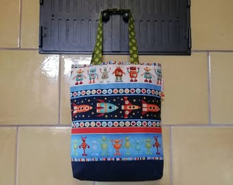 Shaped fabric - rockets - space - Martians - Robots tote bag