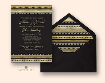Castlefield Black and Gold Glam African Pattern Wedding Event Invitation Envelope Liner Stationery Customized Printable Luxury