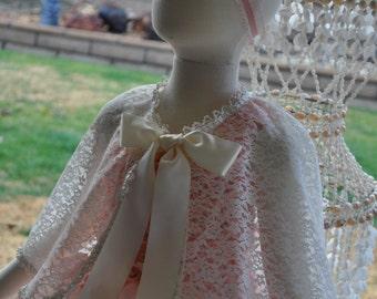 Ivory or White Caplet,Girls Lace Cape,Infant Lace Cape,Toddler Lace Cape,Baby Lace Cape,Girls Lace Caplet,Flowergirl Jacket,Communion Jacket