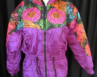 Womens Snuggler Ski Jacket purple flowers well insulated size 8