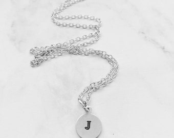 Tiny Initial Necklace, Dainty Initial Necklace, Layered Initial Necklace, Tiny Monogram Necklace, Tiny Letter Necklace, Handstamped Necklace