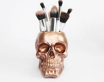 Makeup Brush Holder, Skull Vase, Demon Skull, Pen Holder, Vase, Makeup Organizer, Skull, Skull Decor, Skull, Painted Skull, Human Skull,
