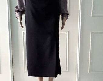80's mid length skirt 1980's high waisted skirt 80's black skirt box pleated skirt Premier Collection skirt ladies vintage skirt size 14