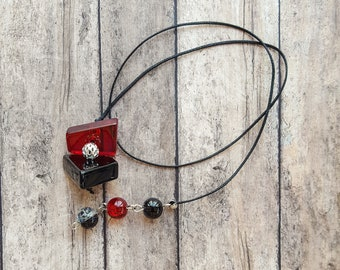 Beaded Handmade Book Thong with Red Not Square Glass Beads and Black and Red Glass Beads   Bookmark   Unique