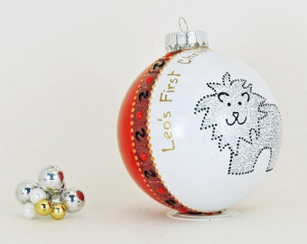 Baby's First Christmas - Hand painted personalized glass ball - Adorable lion