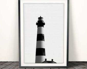 Lighthouse print,  Wall Art Print, Coastal print, Nautical, Beach Home Decor, Printable Poster, sea Digital Download, Black and White Photo