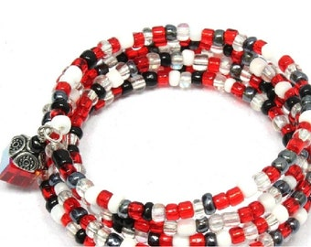 Black and Red Beaded Memory Wire Bracelet - Bangle Bracelet - Wrap Bracelet - Texas Tech - Red Raiders