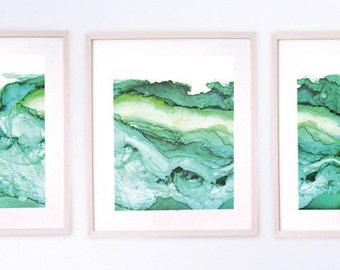 Triptych of Undercurrent Emerald Inks, Oceanscape, Ocean Art, large art, Set of three prints