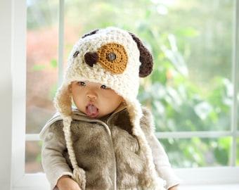 Dog Hat - Baby Hat - Baby Puppy Hat -  Newborn Puppy Dog Hat - Spotted Puppy Crochet Beanie Hat - Year of the Dog Hat - by JoJosBootique