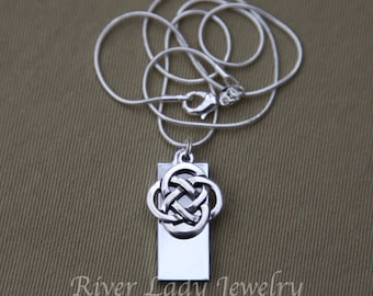 Celtic Knot 8GB, 16GB or 32GB USB Drive Necklace with Sterling Silver Plated Chain