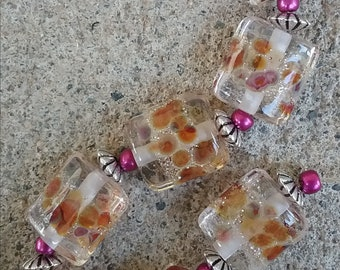 Lampwork Glass Pillow Beads - Carnival  - 7 beads
