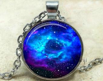 Blue nebula art pendant, galaxy necklace, galaxy pendant, nebula necklace, nebula jewelry, galaxy jewelry, space jewelry, Pendant #SP103P