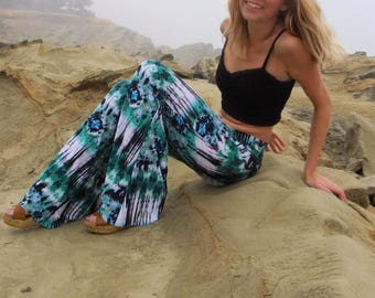 TIE DYE  bell bottom or wide leg palazzo 70's hippie gypsy boho chic yoga resort lounge beach festival dance hooping pants