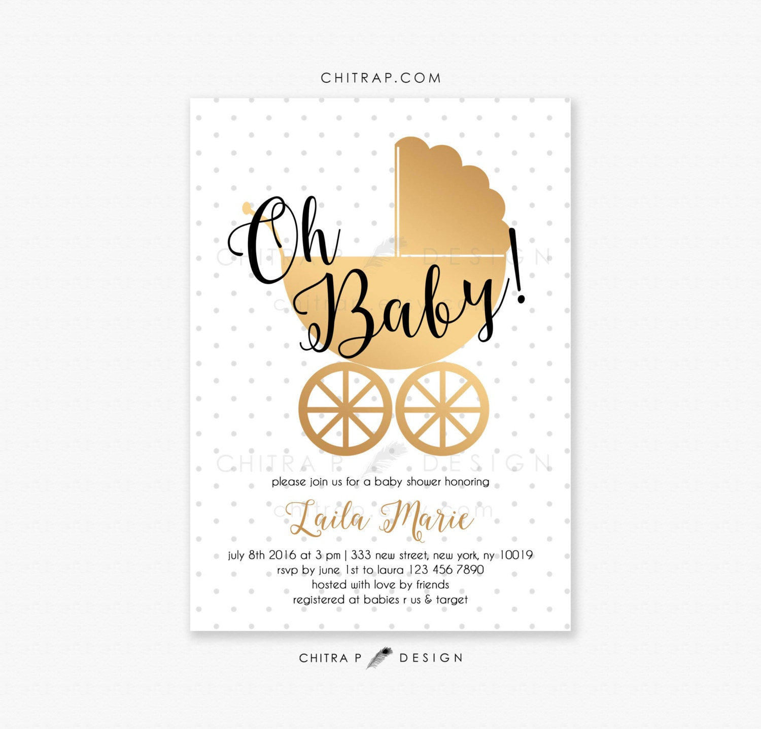 White Gold Baby Shower Invitations Printed Black Oh Baby
