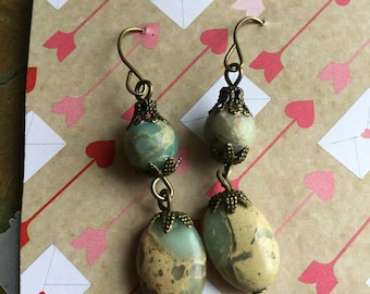 Beautiful Snakeskin jasper earrings