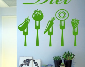 Wall Decal Room Sticker healthy organic healthy style food life diet bulb bo3056