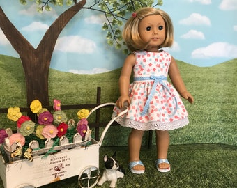 American made Spring or Summer dress made to fit American Girl doll or similar 18 inch doll