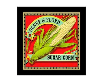 Small Journal - Sugar Corn  - Fruit Crate Art Print Cover
