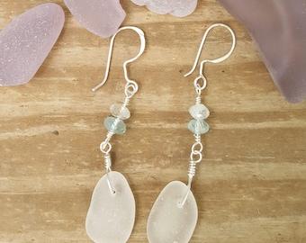 Authentic Sea Glass Earrings - white with aquamarine gemstones