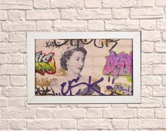 Industrial Queen Graffiti White Frame Brick Wall Graffiti Style Artwork Graffiti Art Steampunk & 3D Ceramic Brick Panels and Framed. UK MADE