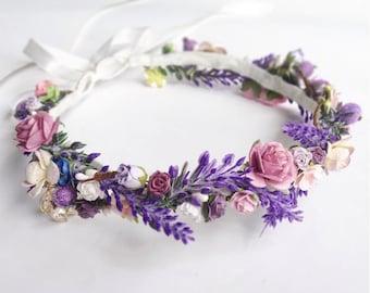 Lavender Wedding Flower Crown \ Lavender Floral Crown Wedding Headband  Lavender Wedding Bridal Crown Floral Headband 1004